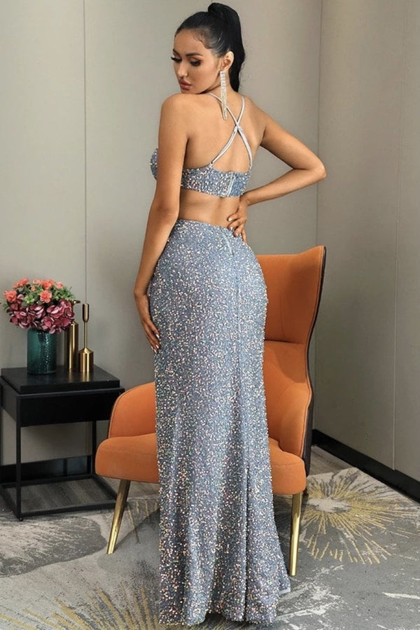 Jessica Bara Fatima Sequin Cut Out Bodycon Gown