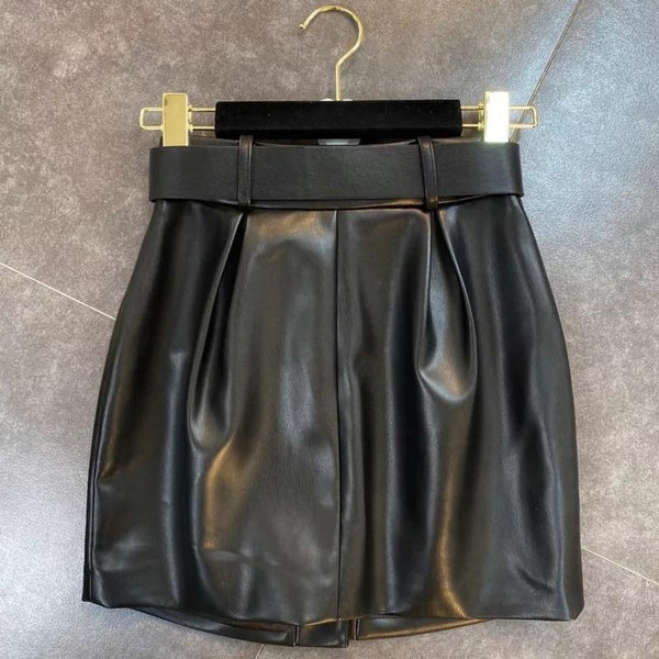 Jessica Bara Diara Gold Button PU Leather Mini Skirt
