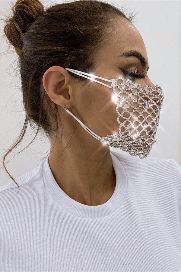 Rhinestone Scalloped Face Mask