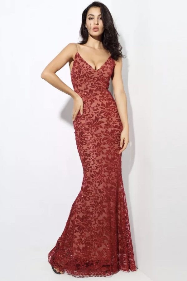 Jessica Bara Cindie V Neck Floral Glitter Bodycon Gown