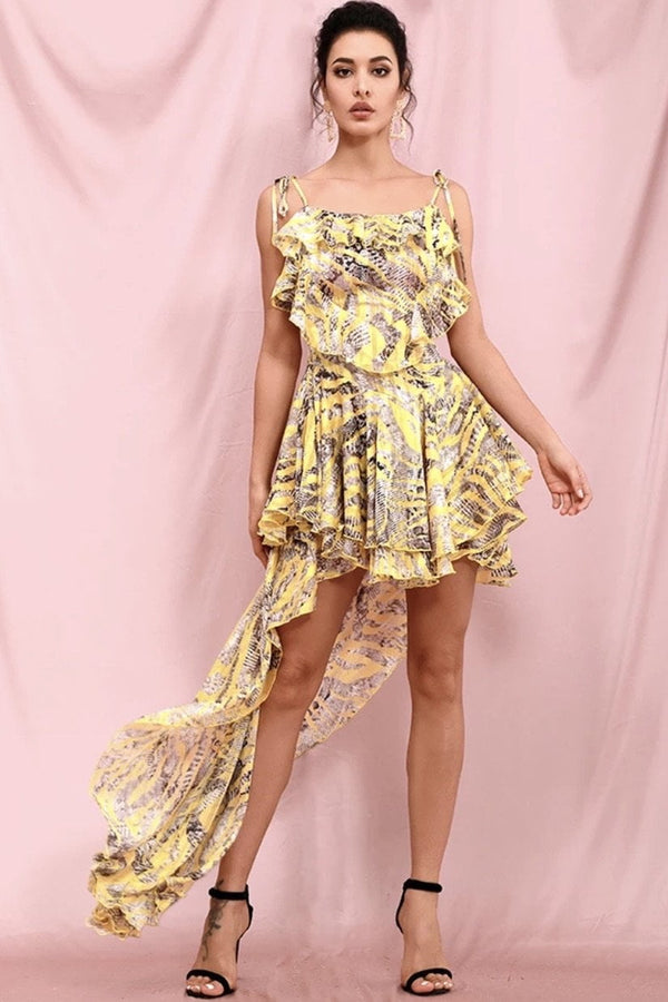 Jessica Bara Kacey Ruffle Printed High-Low Dress