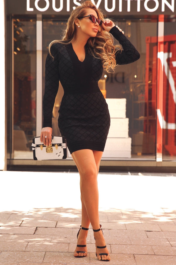 Jessica Bara Milo Long Sleeve Bodycon Mini Dress