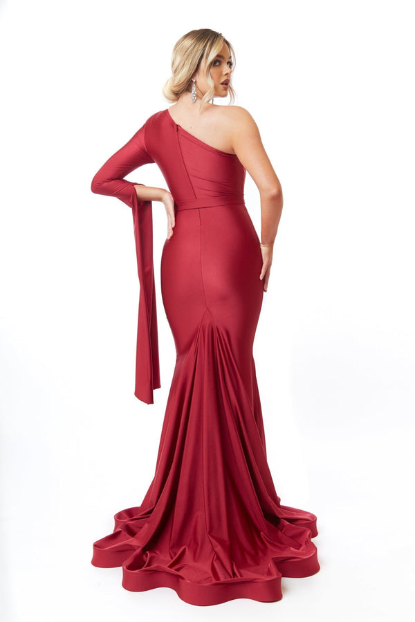 Atria One Shoulder Exaggerated Split Sleeve Gown