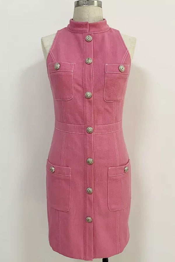 Jessica Bara Darielle High Neck Pink Denim Mini Dress