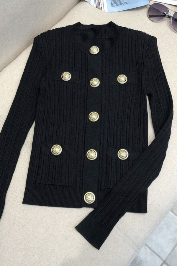 Jessica Bara Stacy Gold Button Knit Cardigan