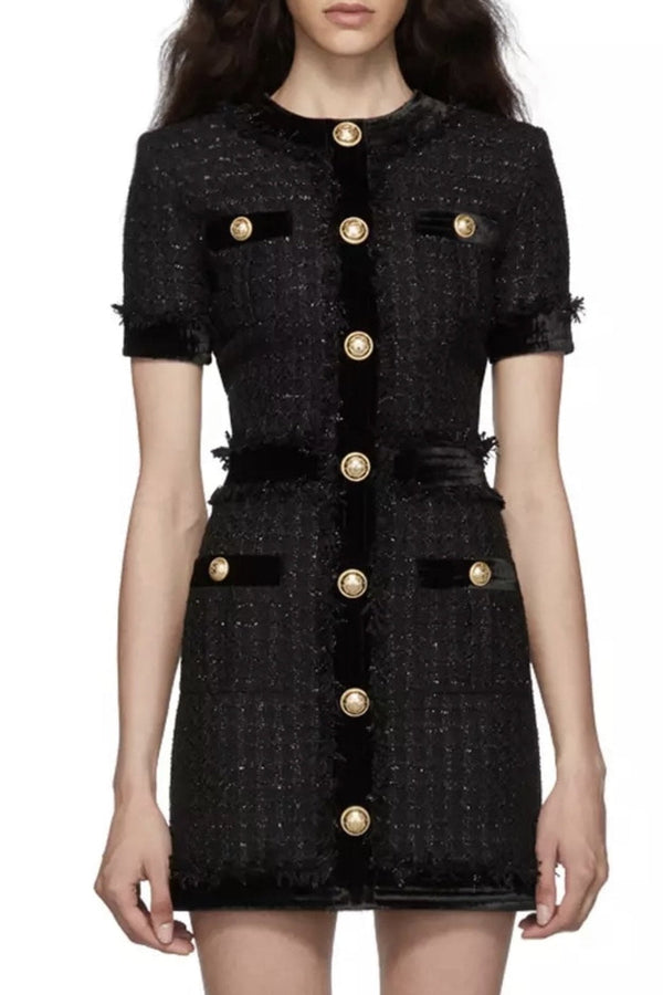 Jessica Bara Lena Tweed Gold Button Mini Dress