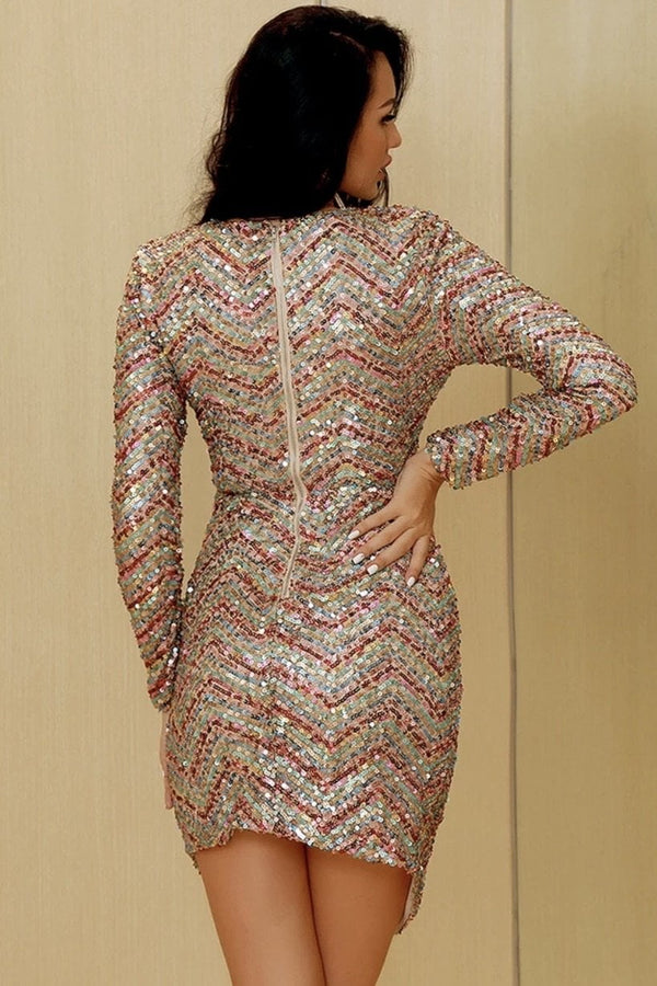 Jessica Bara Lydia Long Sleeve Sequin Mini Dress