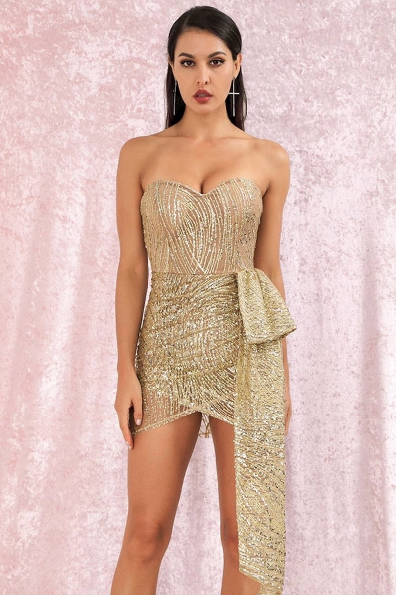 Jessica Bara Alicia Strapless Glitter Draped Mini Dress