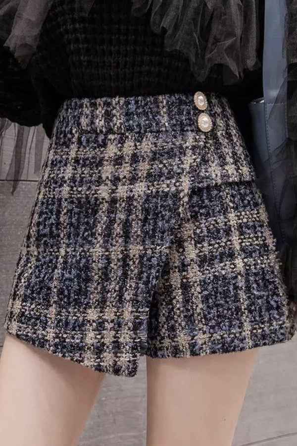 Jessica Bara Jesse Plaid Tweed High Waisted Skort