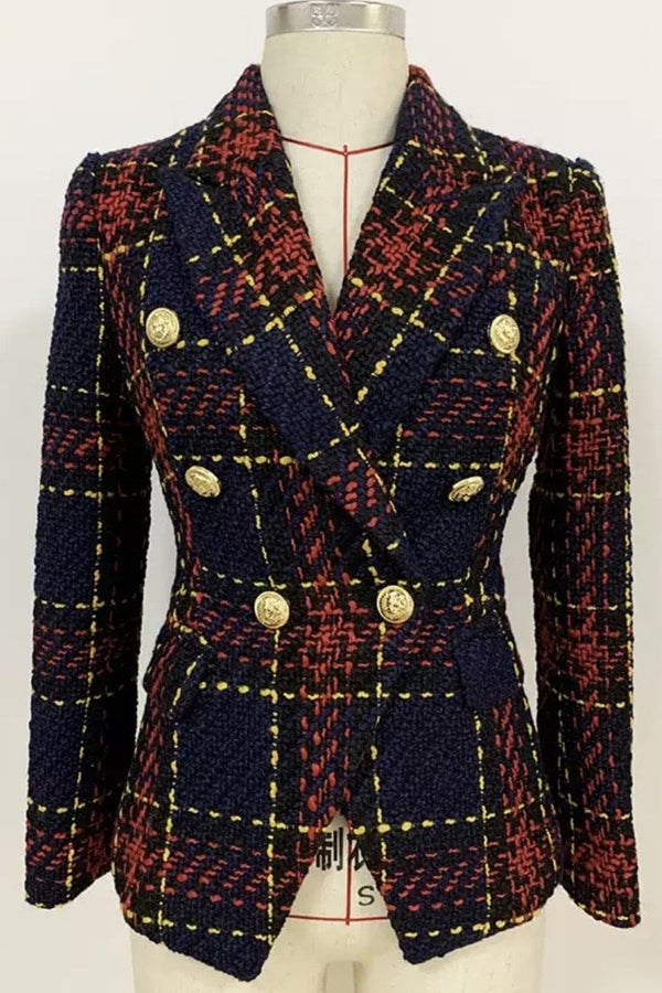 Jessica Bara Tweed Wool Donatella Double Breasted Blazer