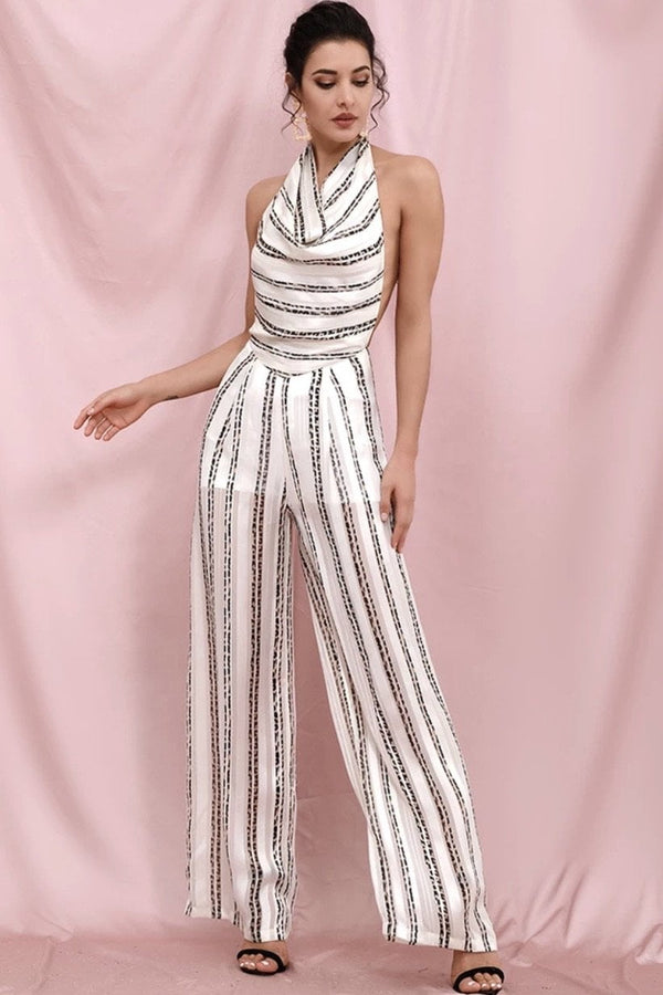 Jessica Bara Isabella Striped Backless Jumpsuit