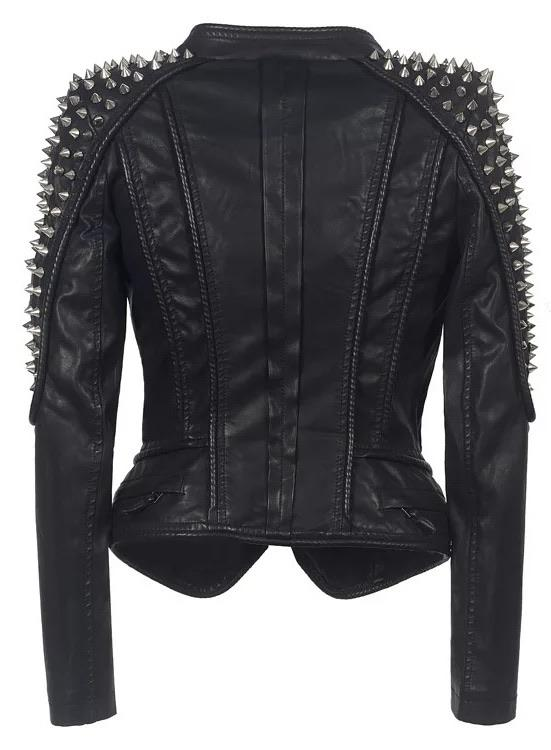 Jessica Bara Ethan Studded Long Sleeve PU Leather Jacket