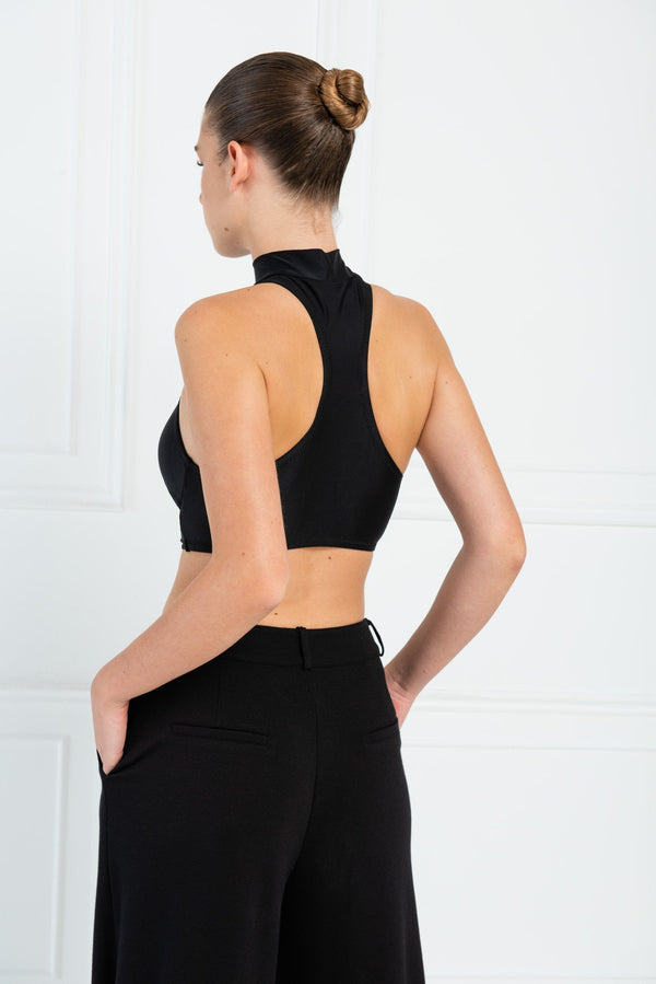Jessica Bara Jade Sleeveless Buckle Waist Crop Top