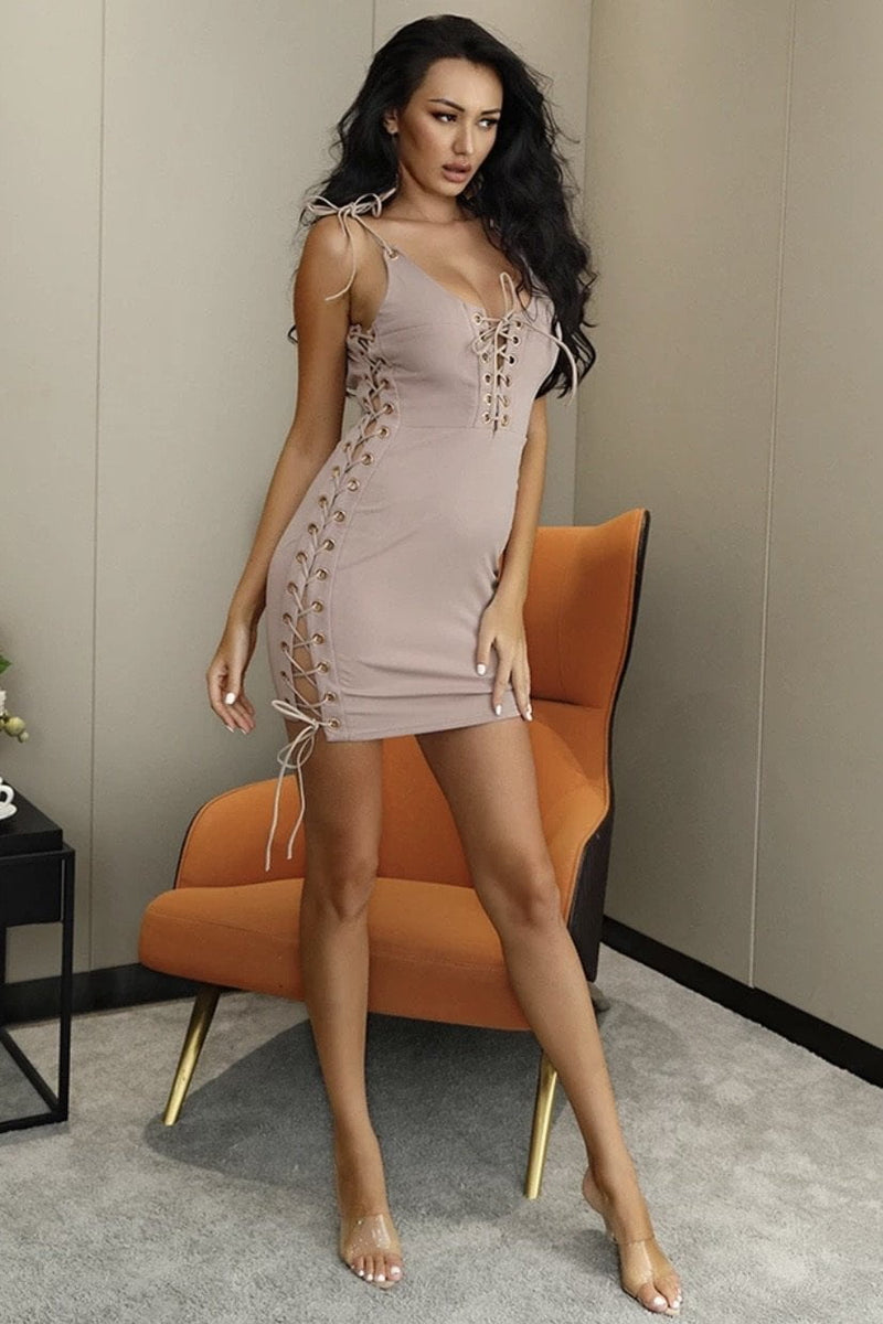 Jessica Bara Elsie Lace Up Bodycon Mini Dress