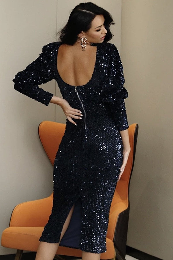 Jessica Bara Madilynn Bubble Sleeve Sequin Midi Dress