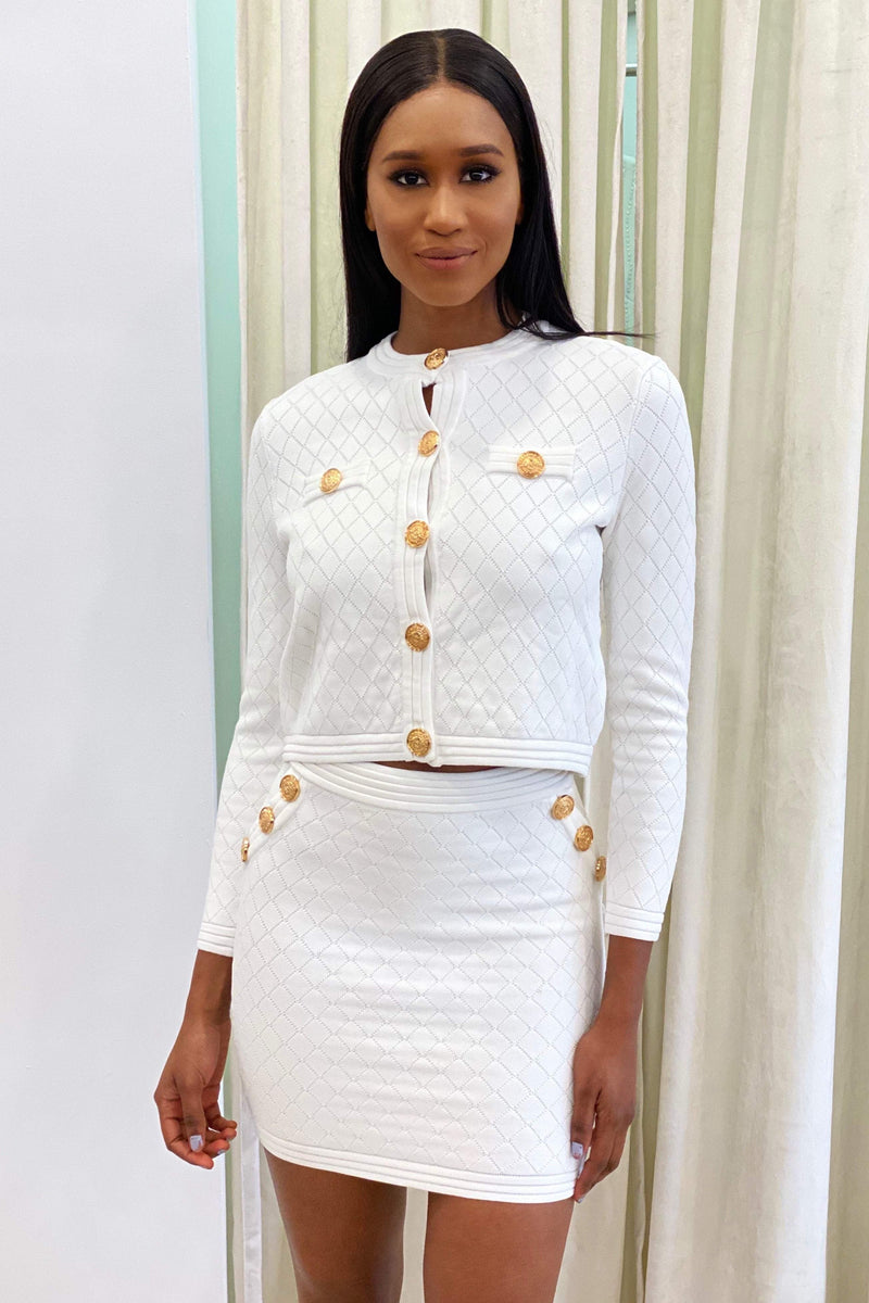 Jessica Bara Eloise Gold Button Two Piece Set