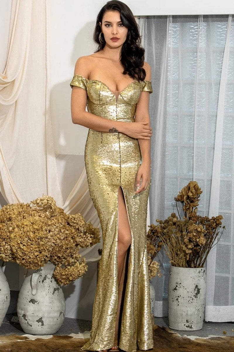 Jessica Bara Stevie Off The Shoulder Sequin Gown