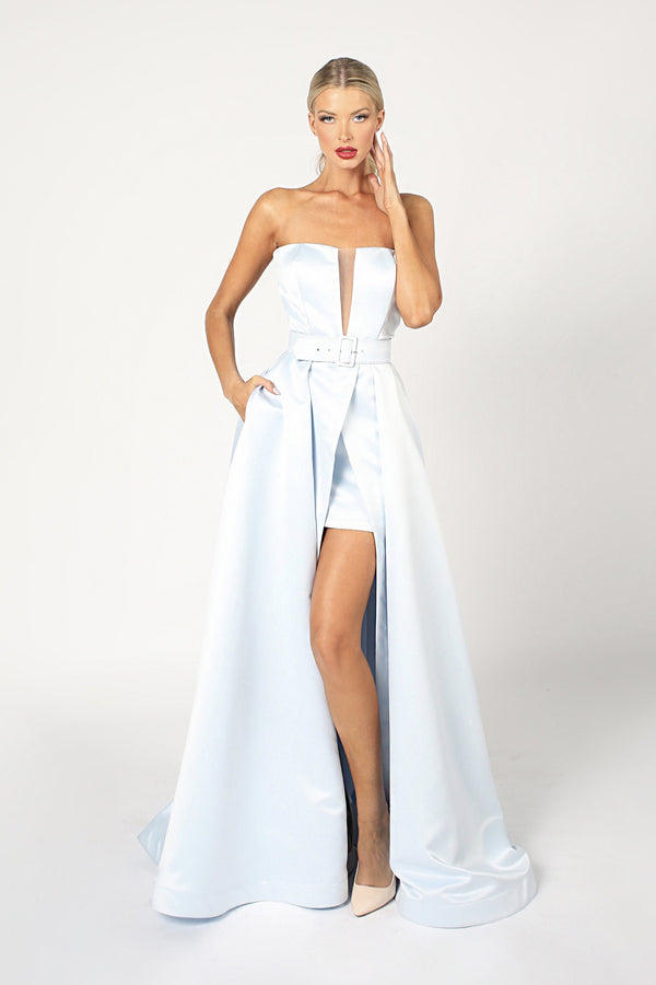 Nicole Bakti Strapless Belted Romper Dress