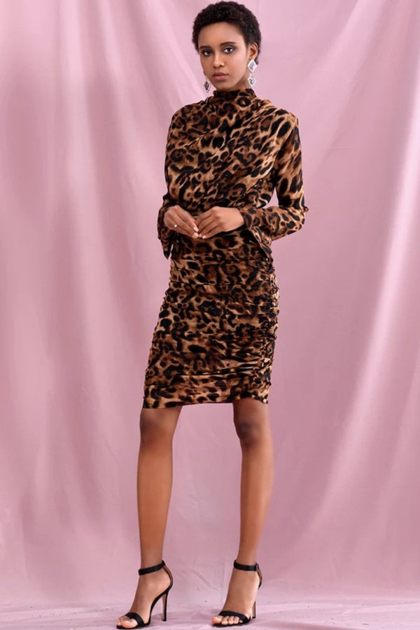 Jessica Bara Kianna Leopard High Neck Mini Dress
