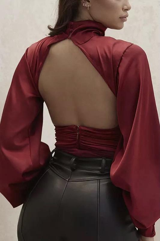 Jessica Bara Faye Long Sleeve Satin Backless Bodysuit