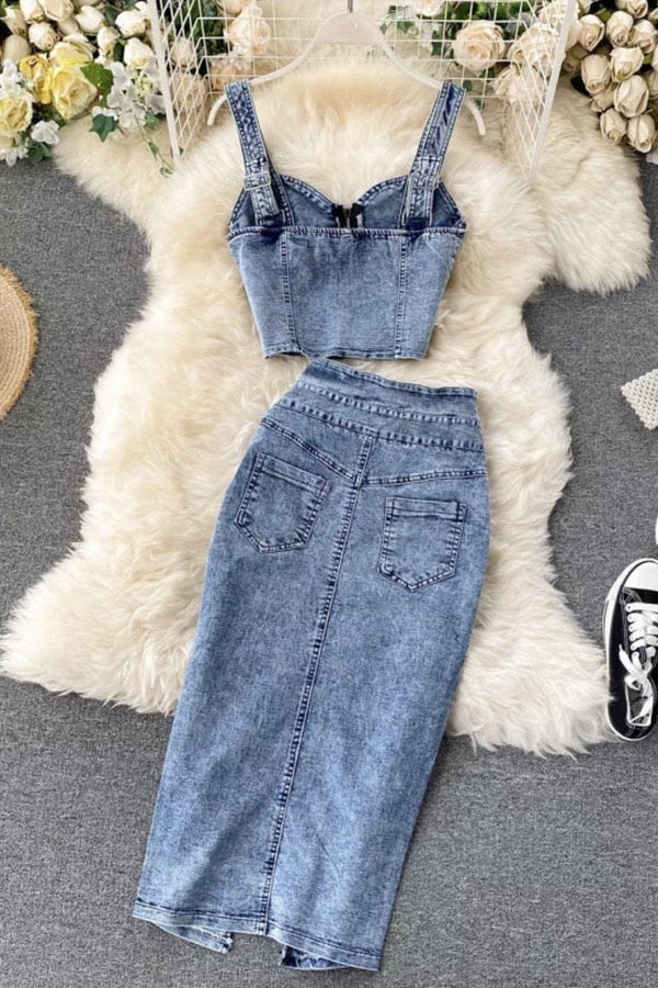 Jessica Bara Zayden Denim Crop Top And Skirt Two Piece Set