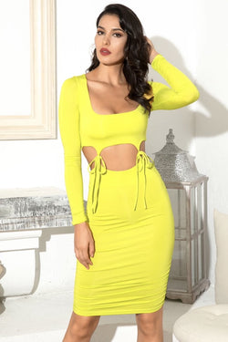 Jessica Bara Camila Long Sleeve Cut Out Midi Dress