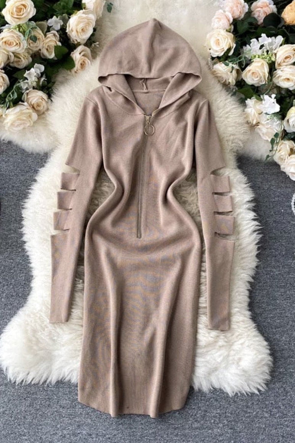 Jessica Bara Kyrie Cut Out Hoodie Midi Dress