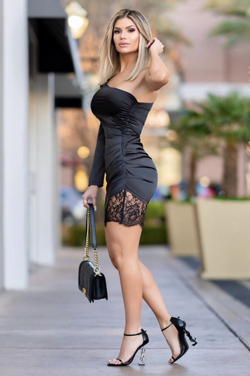 Jessica Bara Kailani One Shoulder Lace Mini Dress