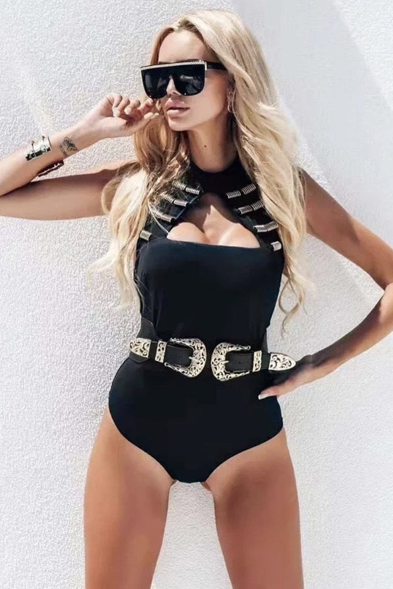 Jessica Bara Katia Bandage Cut Out Belted Bodysuit