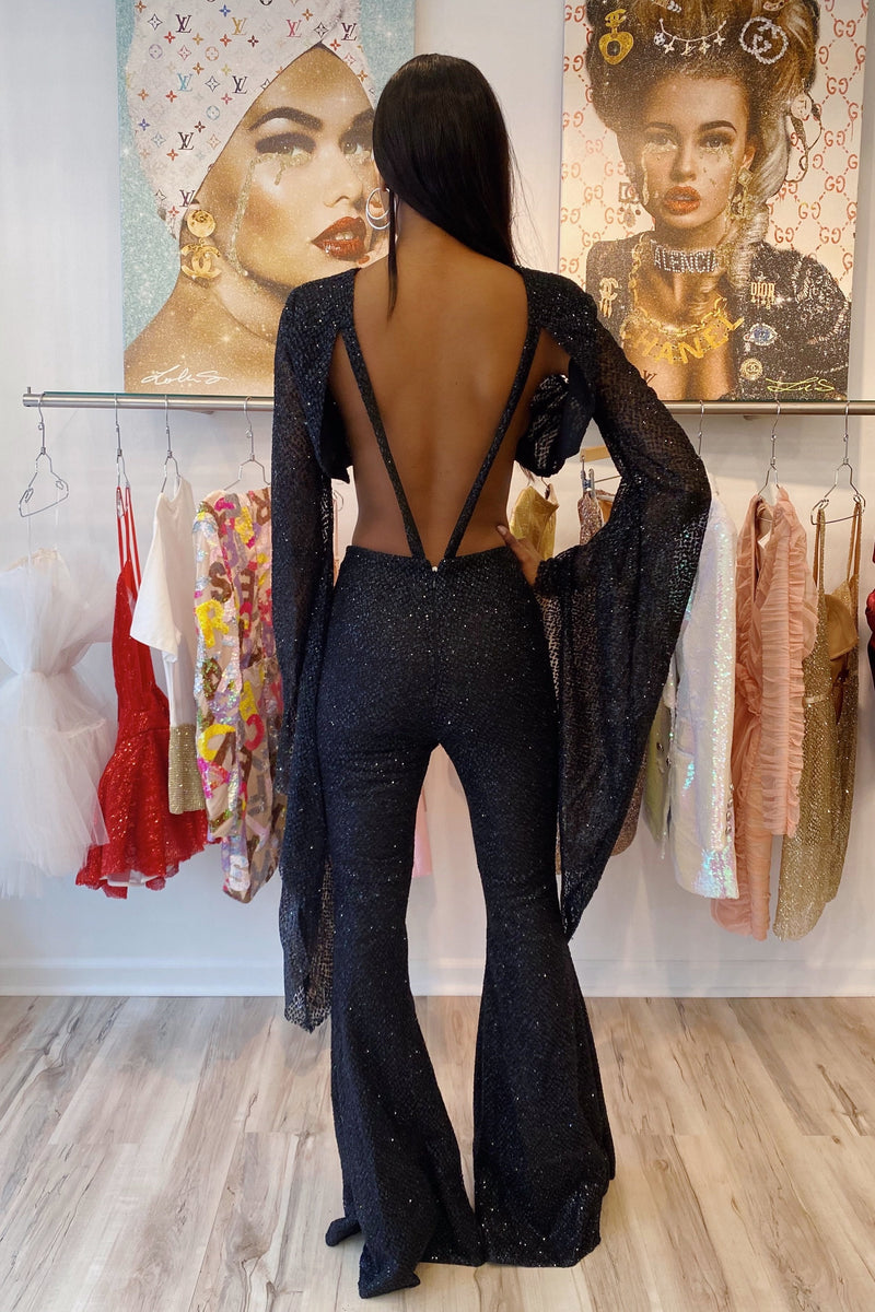 Jessica Bara Sabrina Glitter Open Back Two Piece Set