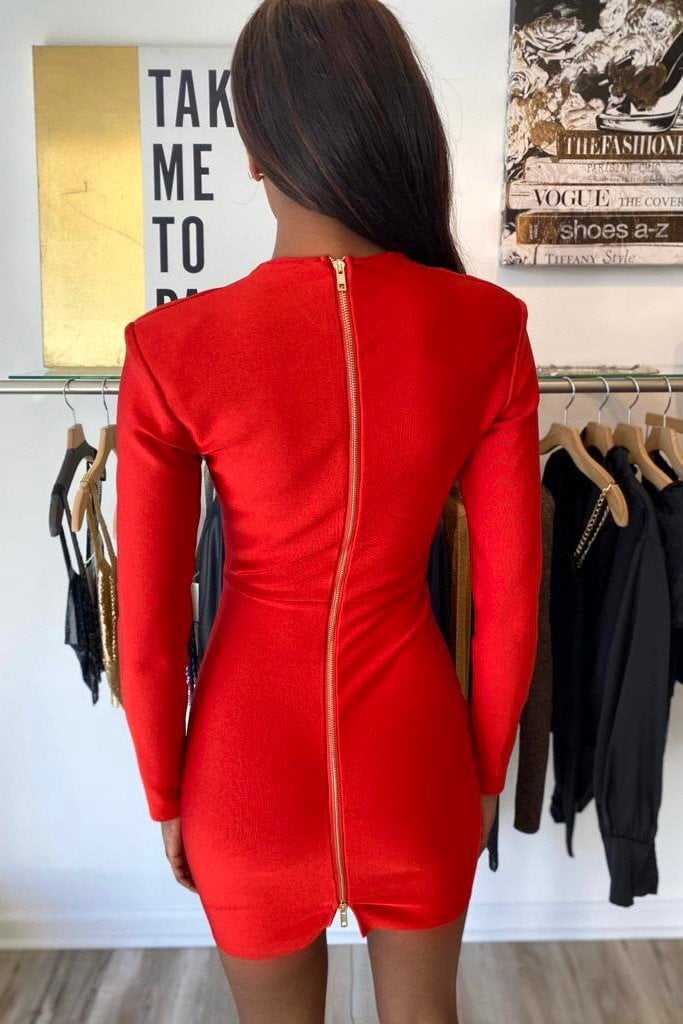 Jessica Bara Emma Long Sleeve Bandage Mini Dress