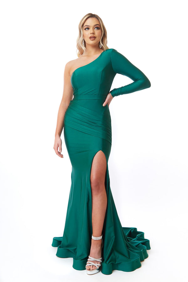 Atria One Shoulder Long Sleeve Gown