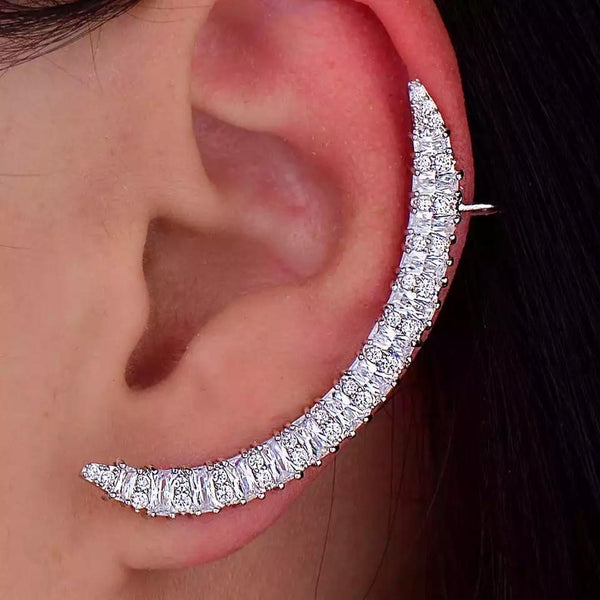 Jessica Bara Stella Platinum Plated Crescent Moon Ear Cuff