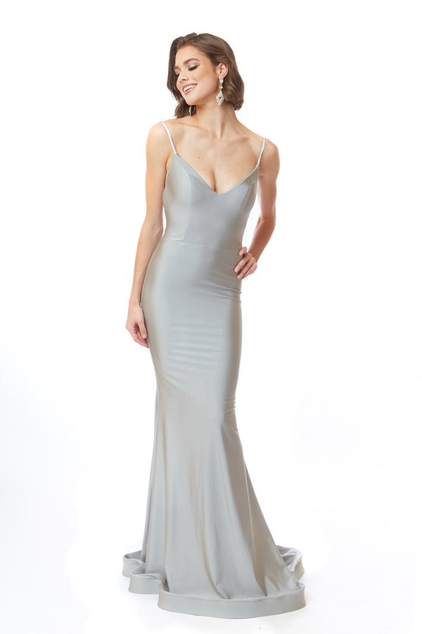 Atria V Neck Backless Gown
