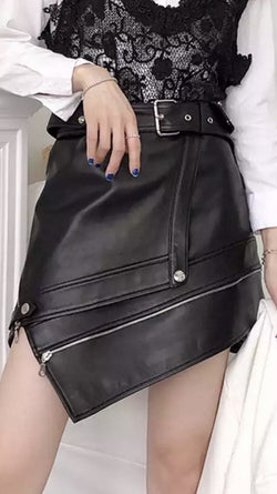 Jessica Bara Halley Leather Asymmetrical Mini Skirt