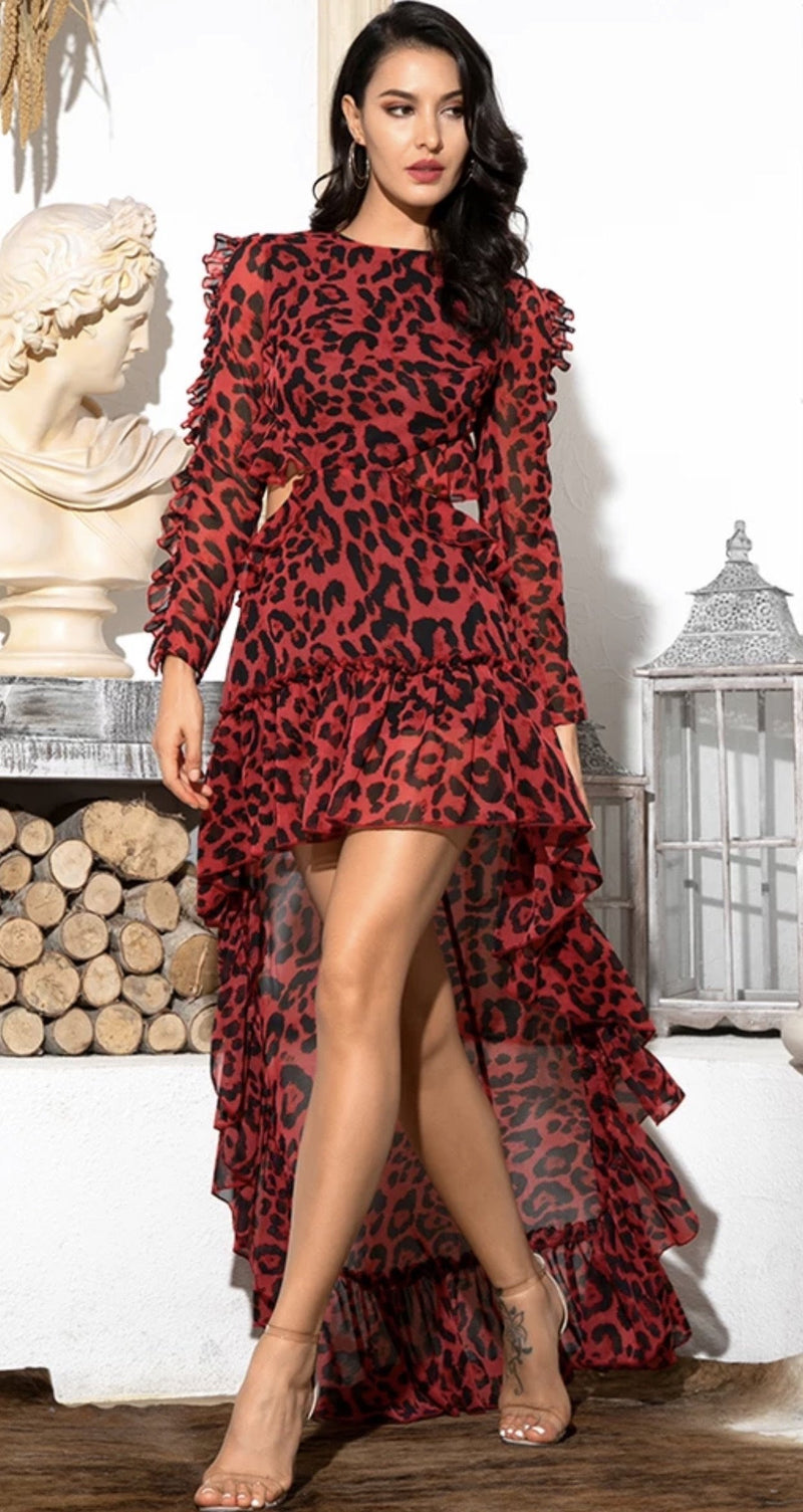 Sale Jessica Bara Lynn Leopard Cut-Out Hi-Lo Long Sleeve Dress