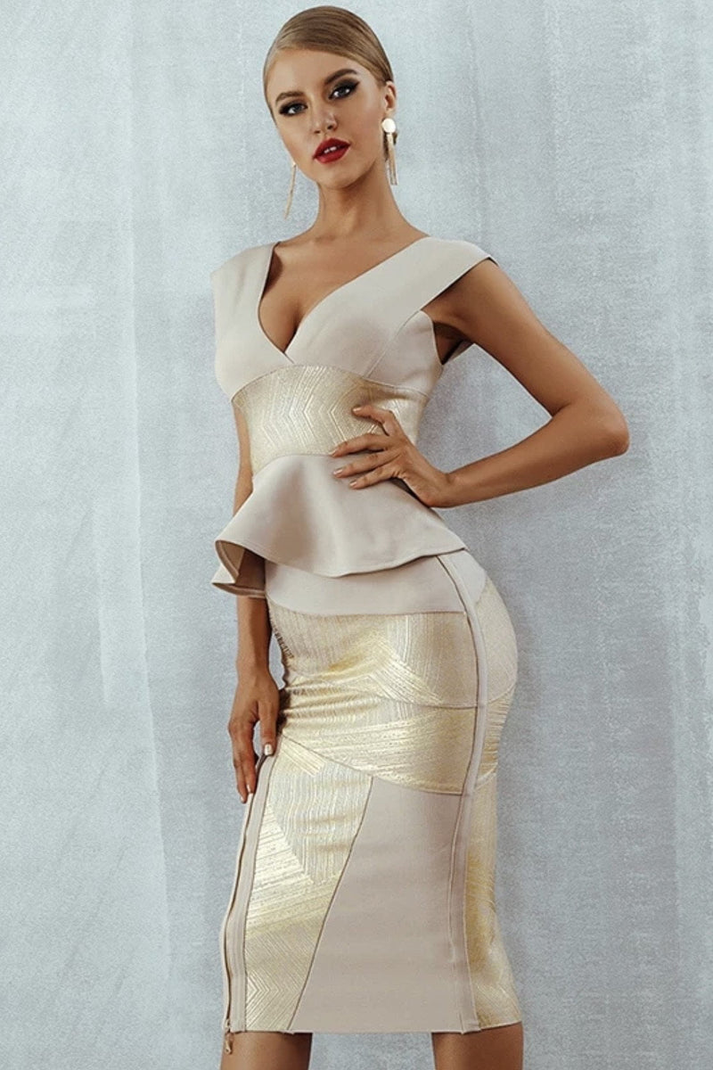 Jessica Bara Amina Peplum Metallic Detail Midi Dress