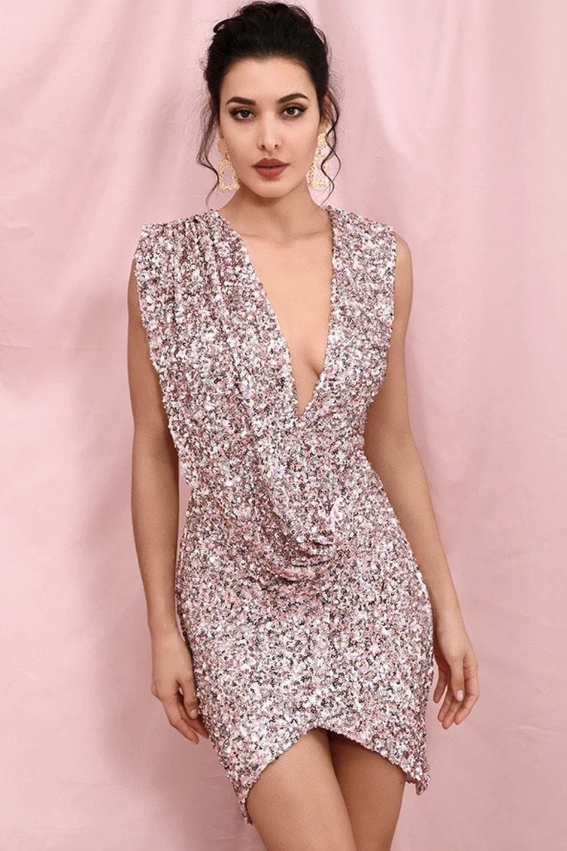 Jessica Bara Kathie Sequin Draped Mini Dress