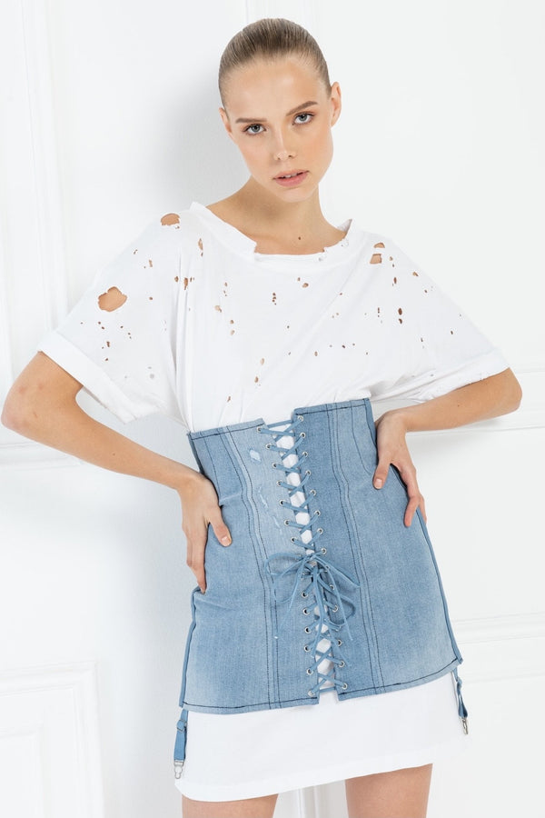 Jessica Bara Mckenna Lace Up Denim Corset Skirt