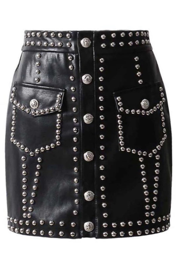 Jessica Bara Marissa Leather Studded Mini Skirt