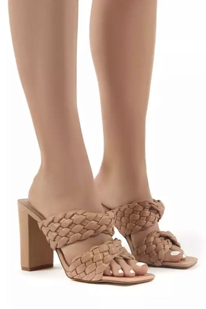 Jessica Bara Ellis Woven Faux Leather Heels