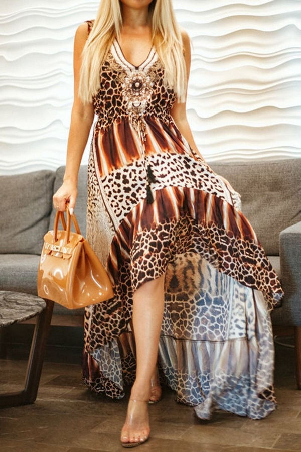 Colors Of Fashion Hi-Low Leopard Dress