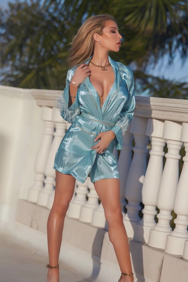 Jessica Bara Chelsia Feather Belted Mini Dress