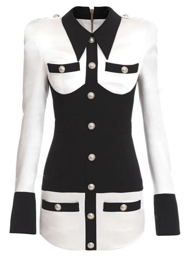 Jessica Bara Kellie Contrast Silver Button Collared Dress
