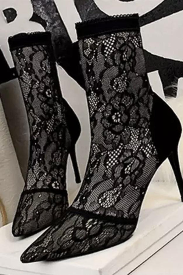 Jessica Bara Julius Lace Pointed Toe Ankle Booties