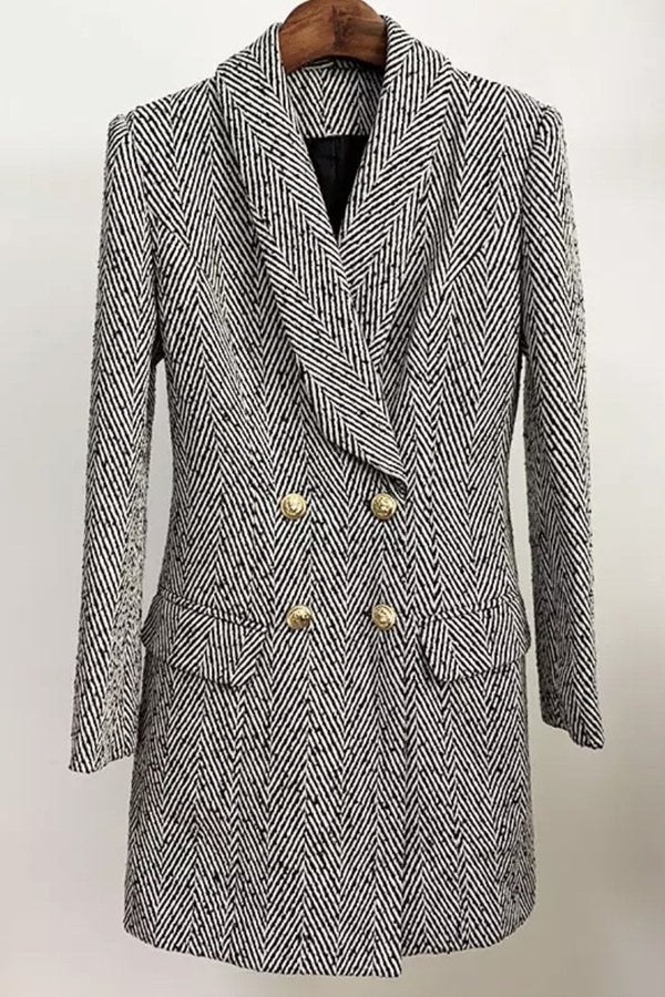 Jessica Bara Liam Long Sleeve Herringbone Coat