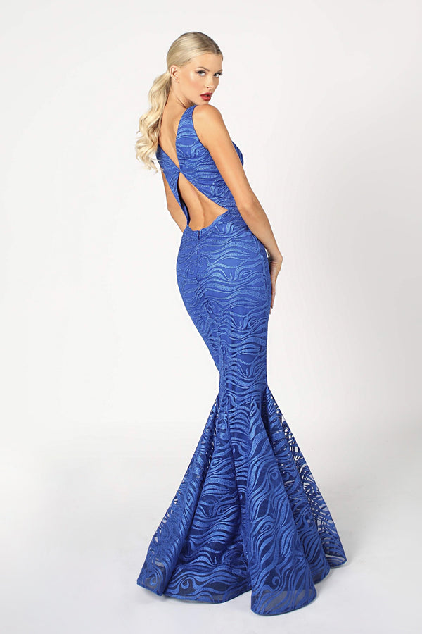 Nicole Bakti V Neck Cut Out Bodycon Gown
