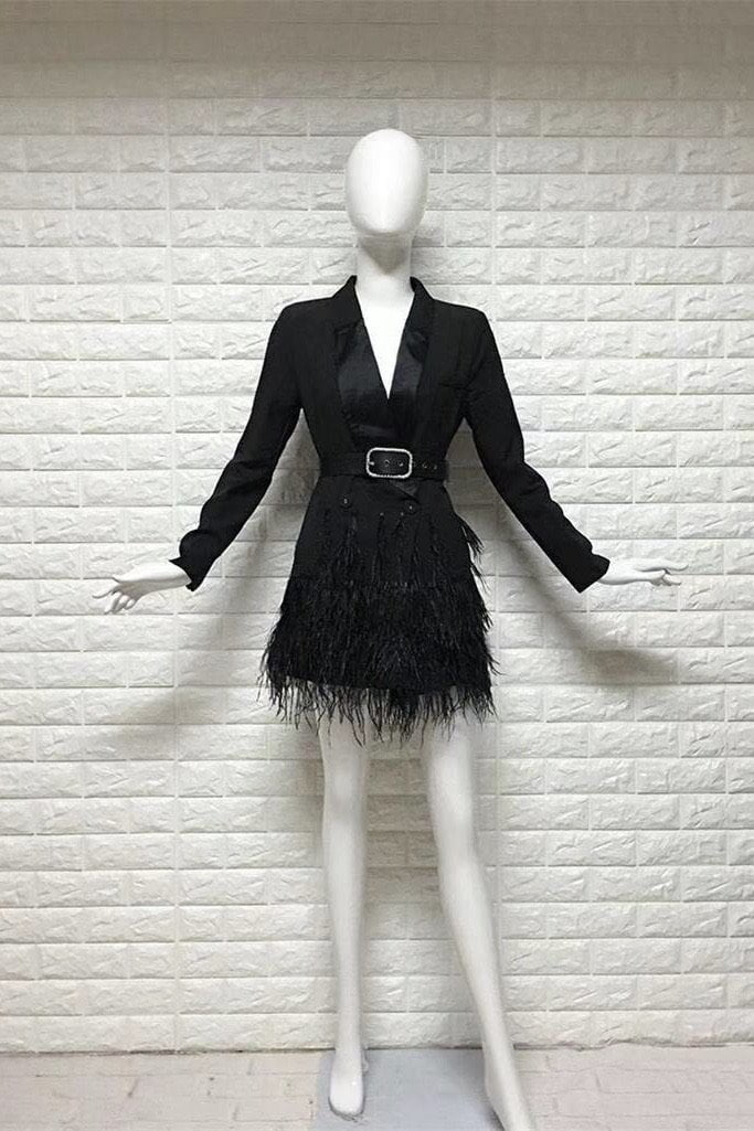 Jessica Bara Romilly Belted Feather Blazer Dress