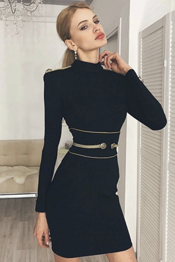 Jessica Bara Asuna Bandage Long Sleeve Dress