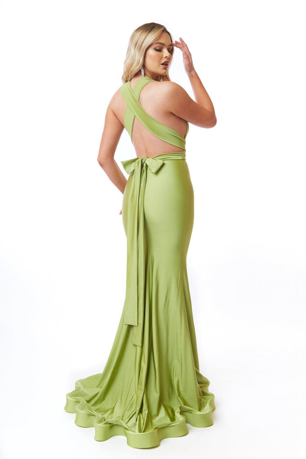 Atria Back Tie Deep V Gown
